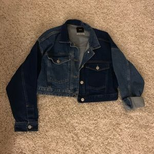 Urban Outfitters Cropped Colorblock Denim Jacket
